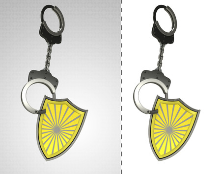 retribution: security shield in chain as criminality concept double illustration