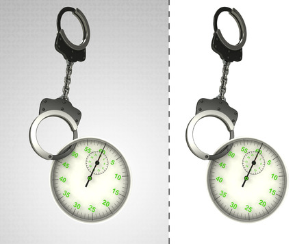 criminality: stopwatch in chain as criminality concept double illustration