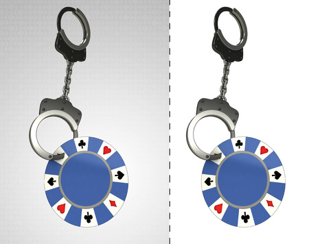 criminality: poker chip in chain as criminality concept double illustration