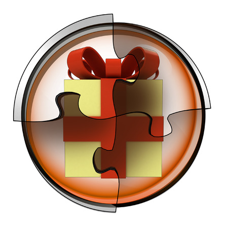 gift wrapping connection in circular jigsaw concept illustration illustration