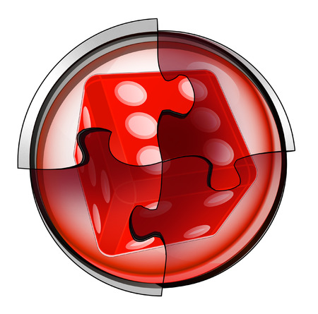 lucky dice connection in circular jigsaw concept illustration illustration