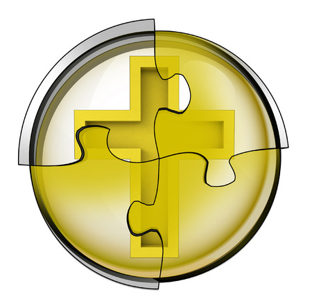golden cross connection in circular jigsaw concept illustration illustration