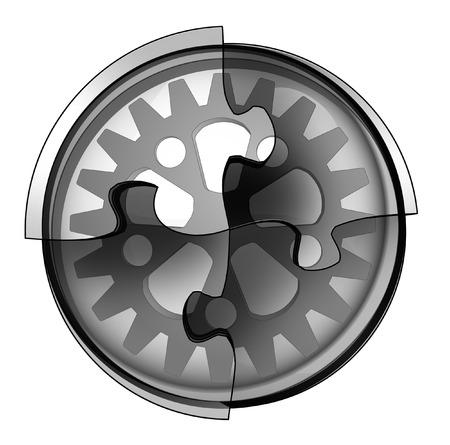 industrial cogwheel connection in circular jigsaw concept illustration illustration