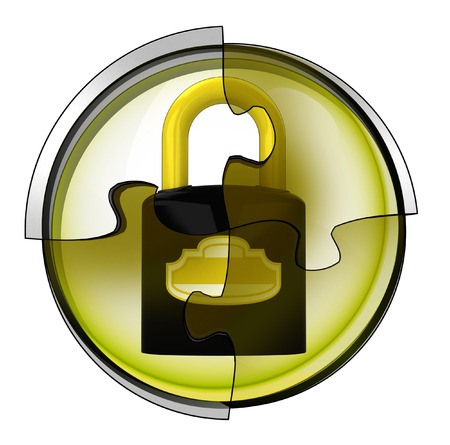 security padlock connection in circular jigsaw concept illustration illustration