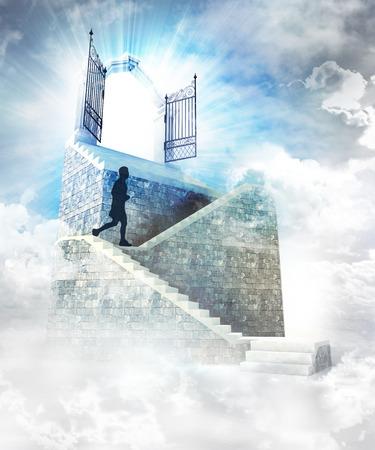 running human on stone stairway to the top illustration illustration