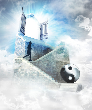 access to soul harmony on top with gate entrance and stairway illustration illustration