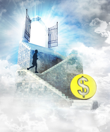Dollar coin business access on top with gate entrance and stairway illustration illustration