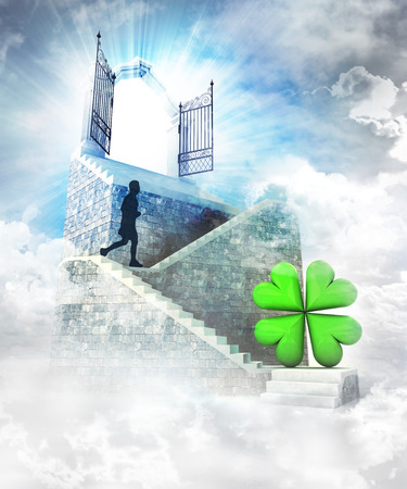 happiness access on top with gate entrance and stairway illustration illustration