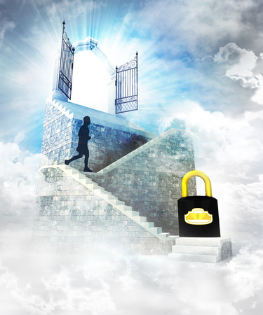 secure access on top with gate entrance and stairway illustration illustration