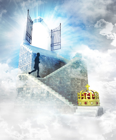 kingdom of heaven: royal access on top with gate entrance and stairway illustration