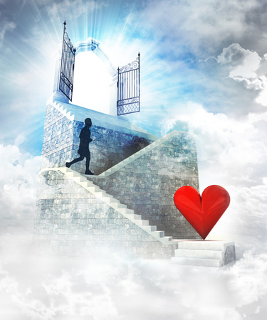 love access on top with gate entrance and stairway illustration