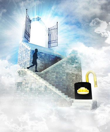 unlocked access on top with gate entrance and stairway illustration illustration