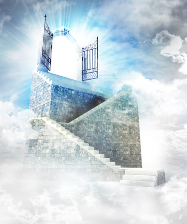 heavens gates: stone stairway  with gate entrance on top illustration