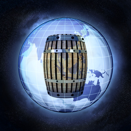 beverage production of Asia earth globe at cosmic view concept illustration illustration