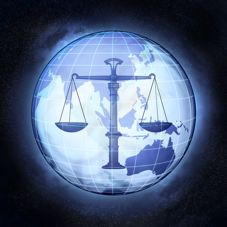 international law: fair trade in Asia earth globe at cosmic view concept illustration