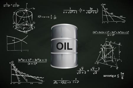 oil barrel on blackboard with math calculations vector illustration
