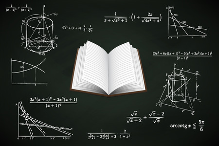 open book on blackboard with math calculations vector illustration Vector