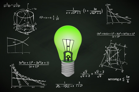 green lightbulb on blackboard with math calculations vector illustration Vector