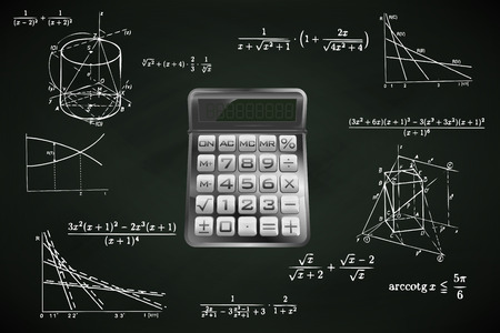 calculator on blackboard with math calculations vector illustration Vector