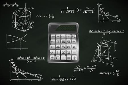 calculator on blackboard with math calculations vector illustration Vector