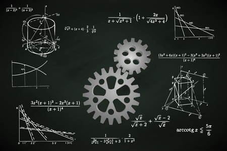 industrial cogwheel on blackboard with math calculations vector illustration