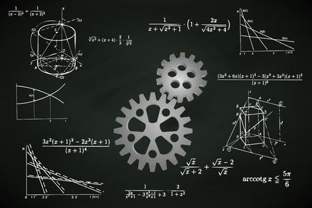 ingeniería: rueda dentada industrial en la pizarra con la ilustración vectorial cálculos matemáticos Vectores
