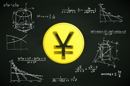 yuan: Yuan coin on blackboard with math calculations vector illustration