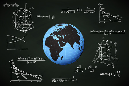 international students: Africa world globe on blackboard with math calculations vector illustration Illustration