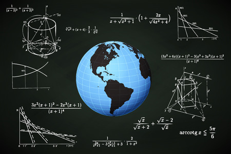 international students: America world globe on blackboard with math calculations vector illustration Illustration