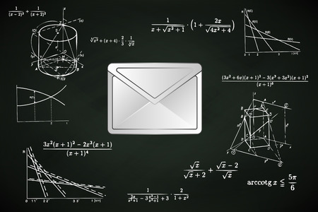 email message on blackboard with math calculations vector illustration Vettoriali