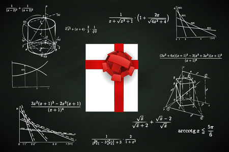 gift box on blackboard with math calculations vector illustration Vector