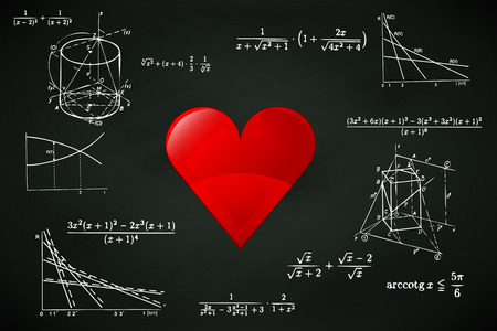 red heart on blackboard with math calculations vector illustration Vector