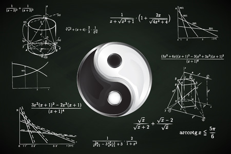 balance sign on blackboard with math calculations vector illustration Vector