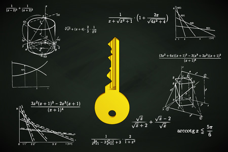 golden key on blackboard with math calculations vector illustration