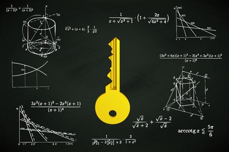 golden key on blackboard with math calculations vector illustration