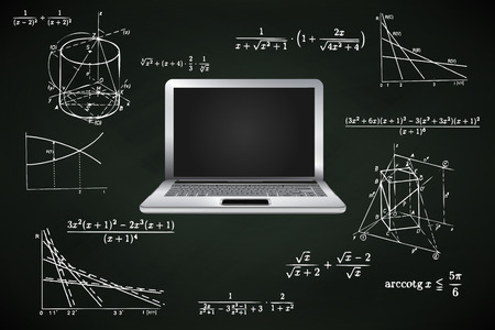 new laptop on blackboard with math calculations vector illustration Vector