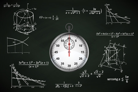 test deadline: stopwatch on blackboard with math calculations vector illustration