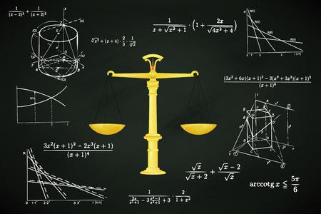 fair weight on blackboard with math calculations vector illustration Vector
