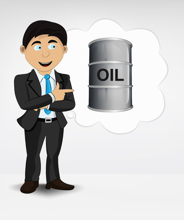 oil barrel in bubble idea concept of man in suit vector illustration Vector