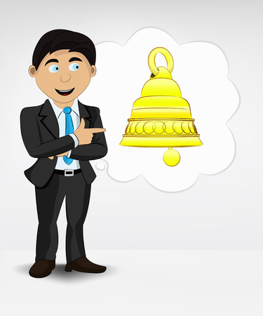 thinking person: golden bell in bubble idea concept of man in suit vector illustration
