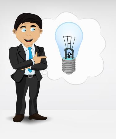 blue lightbulb in bubble idea concept of man in suit vector illustration Vector