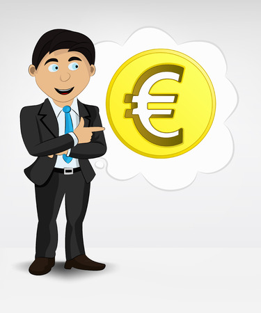 Euro coin in bubble idea concept of man in suit vector illustration Vector