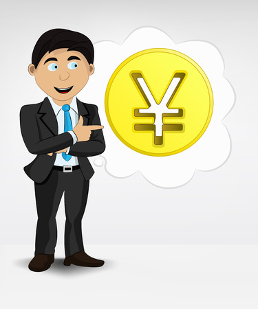 Yuan coin in bubble idea concept of man in suit vector illustration Vector