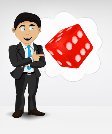 lucky man: lucky dice in bubble idea concept of man in suit vector illustration