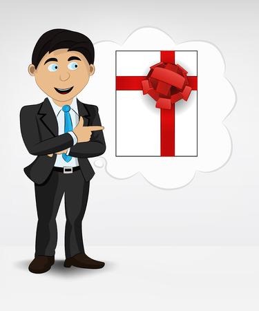 gift box in bubble idea concept of man in suit vector illustration Vector