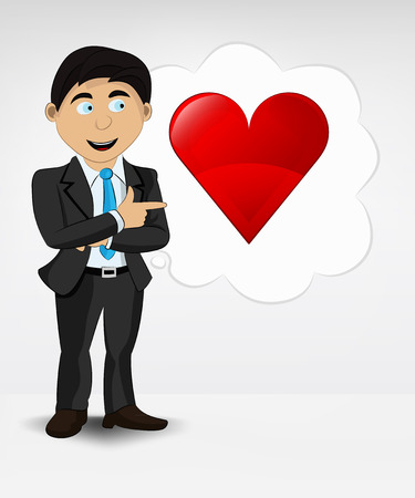 red heart in bubble idea concept of man in suit vector illustration Vector