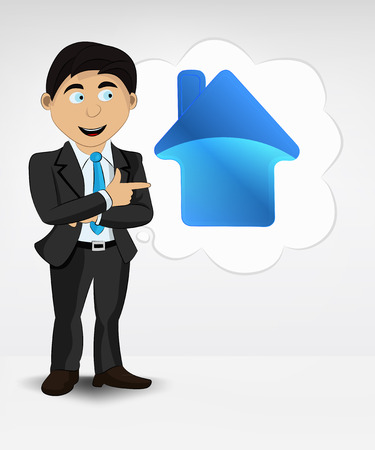 point of demand: house icon in bubble idea concept of man in suit vector illustration