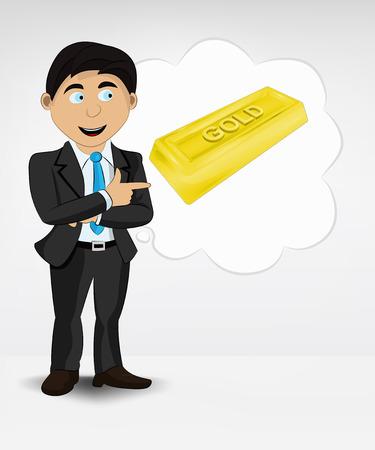 golden bar in bubble idea concept of man in suit vector illustration Vector
