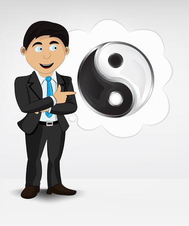 harmony idea: harmony icon in bubble idea concept of man in suit vector illustration