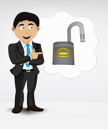 open padlock in bubble idea concept of man in suit vector illustration